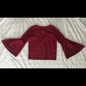 Red Bell Sleeve Shirt with Zipper Back